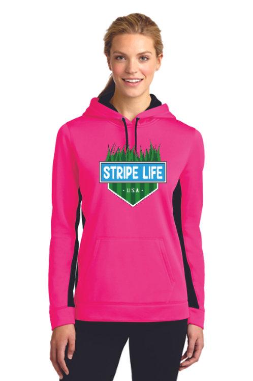 Sport-Tek® Ladies Sport-Wick® Fleece Colorblock Hooded Pullover (SP) LST235