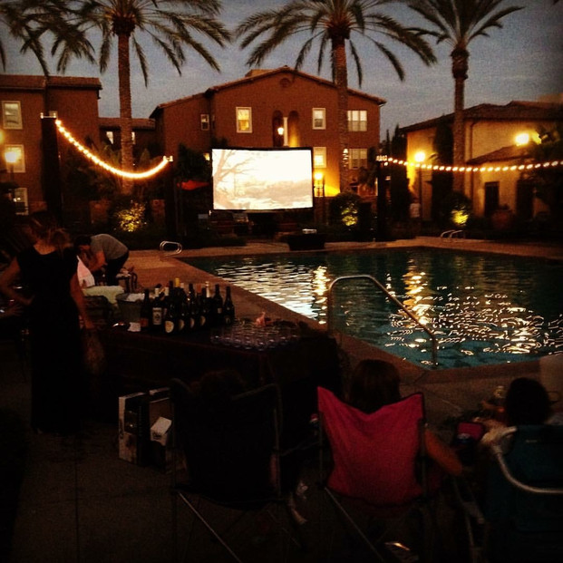 Movie WIth String Lights at Pool.JPG