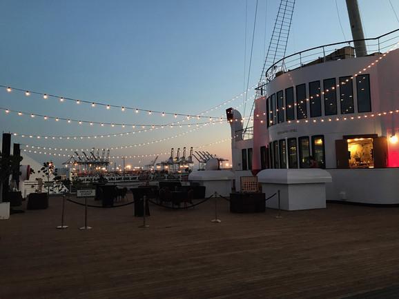 Verandah Deck Festoon Lights Sunset.JPG