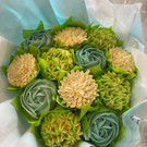Green Cream and turquoise Cupcake Bouquet