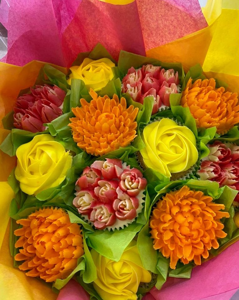Orange Yellow and Pink Cupcake Bouquet