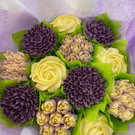 Cream and lilac Cupcake Bouquet
