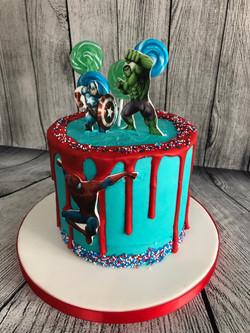 Avengers Drip Birthday Cake