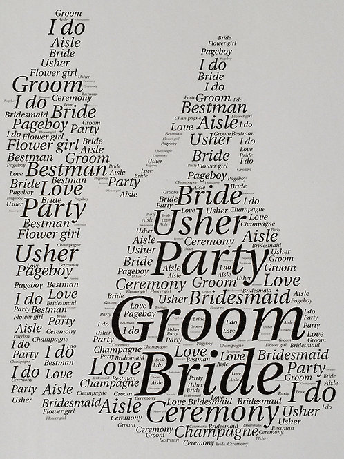 Bride and Groom Word Art Print