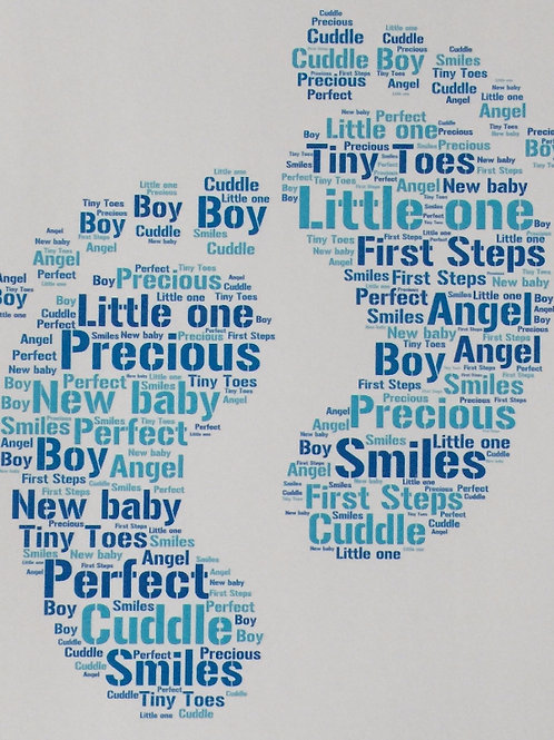 Baby Feet Word Art Print