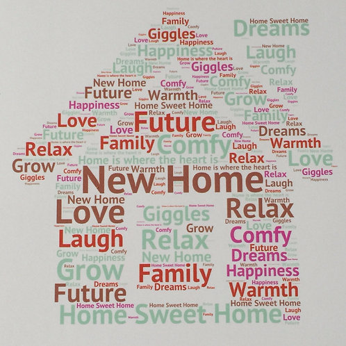 New Home Word Art Print