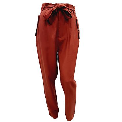 Pantalon Taille Haute Bordeau