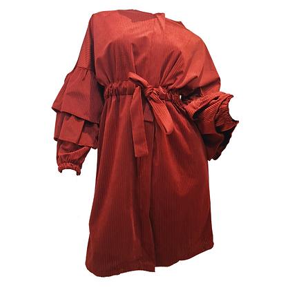Robe Côtelée en Velours Bordeau