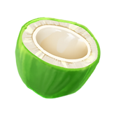 Illustration of a young, green coconut cut off to show the white meat inside