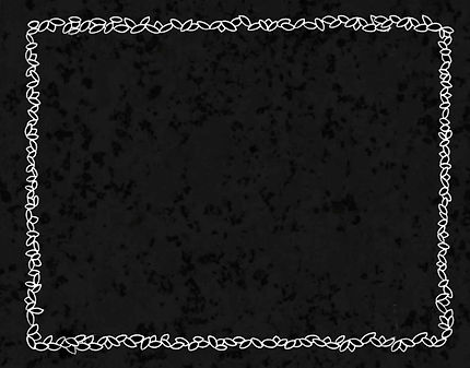 A decorative black background with a white leaf trim