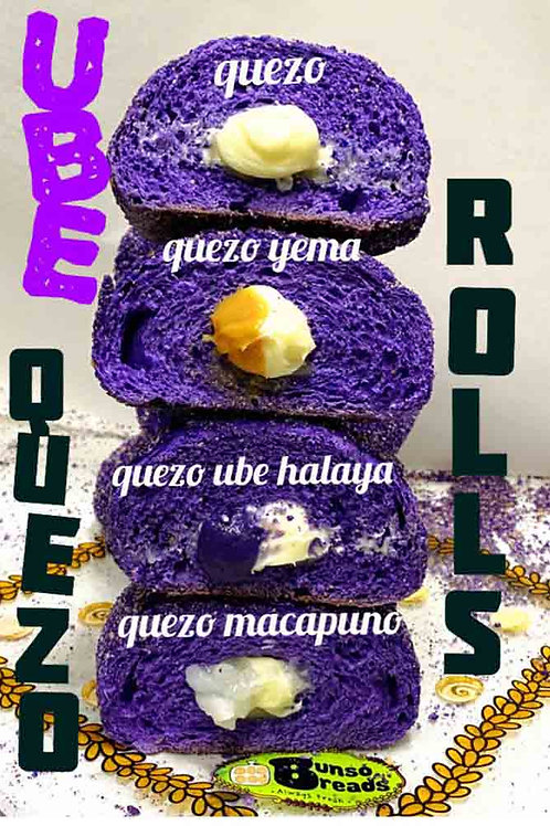 Ube Quezo Rolls stacked on top of each other with descriptive text for the fillings.