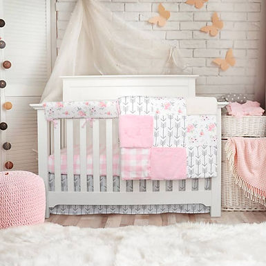 JLIKA Crib Bedding Set - Pink Floral Collection
