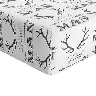 JLIKA Crib Sheet Grey and White Little Man