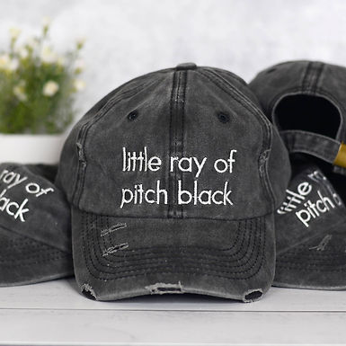 Little Ray of Pitch Black Distressed Hat