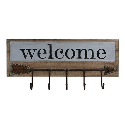 Wooden Welcome Sign with Arrow by Cheungs