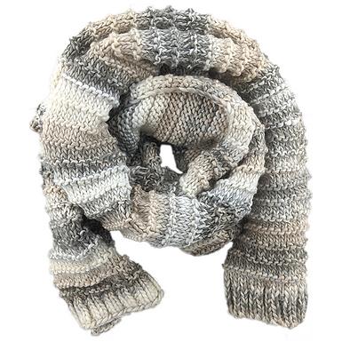 Striped Marled Knit Scarf