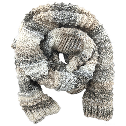 Striped Marled Knit Scarf