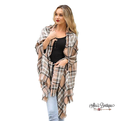 Classic Plaid Shawl with Pockets