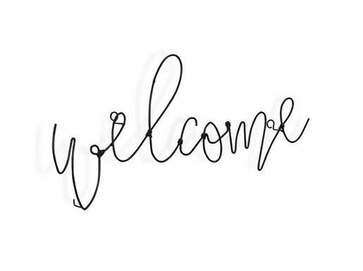 """Welcome"" Black Metal Wire Sign"