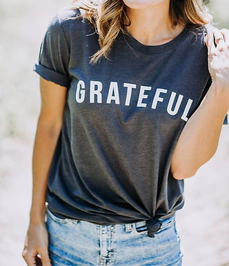 Grateful Charcoal Tee by Saved by Grace Co.