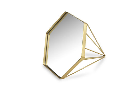 Gold Metal Diamond Shaped Mirror by Cheungs
