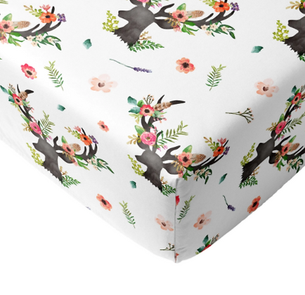 JLIKA Crib Sheet Floral Deer