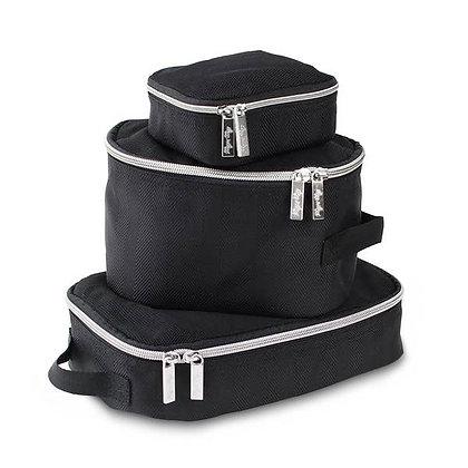 Itzy Ritzy Black Herringbone Travel Bag Packing Cubes