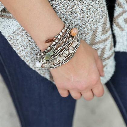 Bohemian Bead Stone & Charm Silver Bracelet