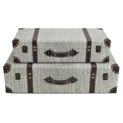 Set of 2 White Linen Suitcase with Brown Vinyl Strap, Handle and Corn by Cheungs