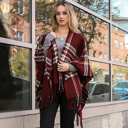 Burgundy Drape Tartan-Plaid Shawl