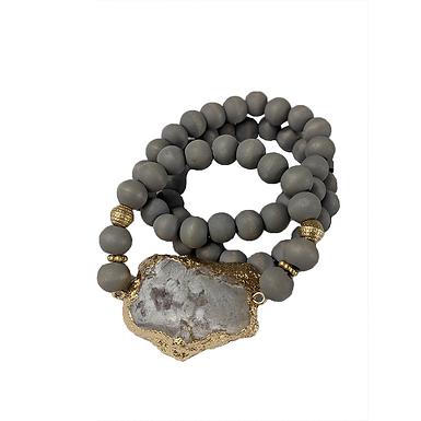 3 Set Wooden and Stone Bracelet