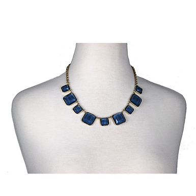 Blue Square Gem Necklace