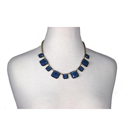 Blue Square Gem Necklace