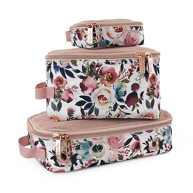 Itzy Ritzy Blush Floral Travel Bag Packing Cubes