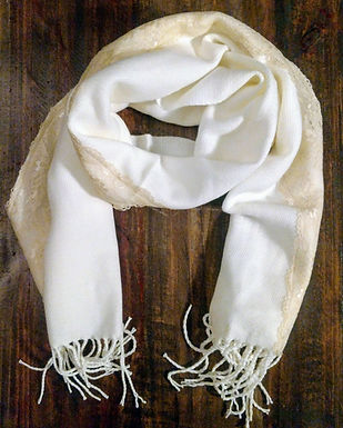 Ivory and Lace Knit Scarf