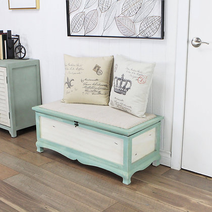 Shabby Bench Chest with Seat Cushion by Cheungs
