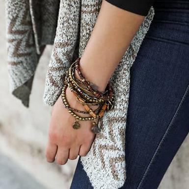 Bohemian Bead Stone & Charm Brown Bracelet