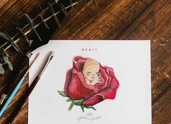Carte Remerciement Rose