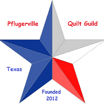 Pflugerville Quilt Guild logo. Founded in 2012 in Pflugerville, Texas