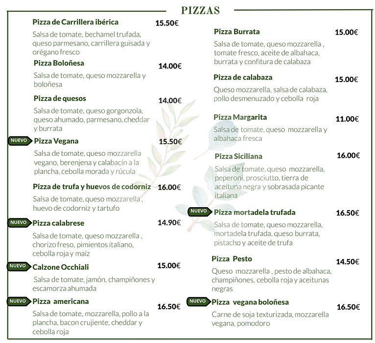 CARTA PIZZA OCCHIALI RESTAURANTE