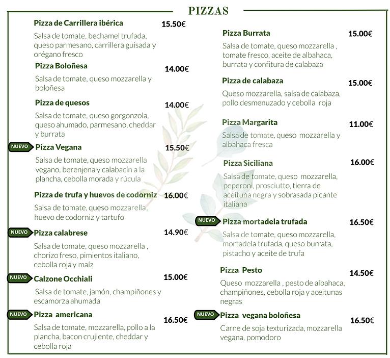 CARTA PIZZA OCCHIALI RESTAURANTE
