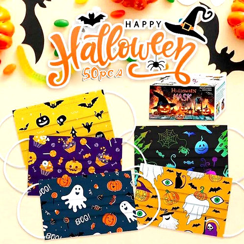 Halloween  Pack 50pcs 3-Layer Face Mask