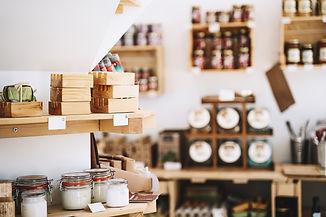 Zero waste shop interior details. Wooden