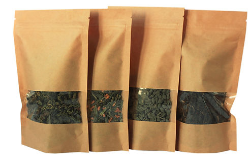 Craft paper pouch bags front view isolat