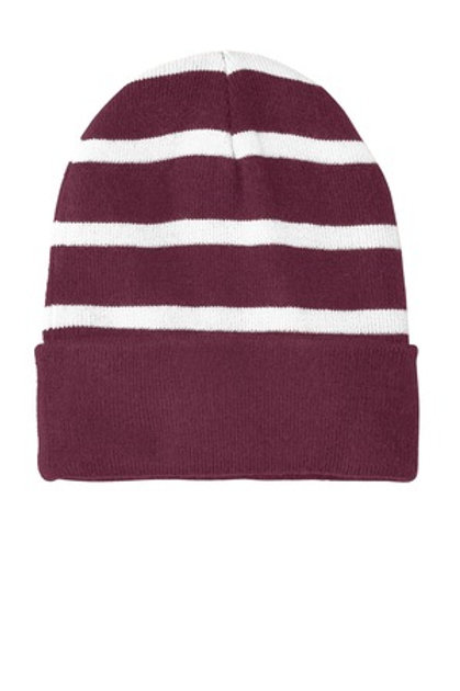 NEW Sport-Tek® Striped Beanie with Solid Band