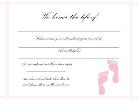 Baby Memorial Certificates