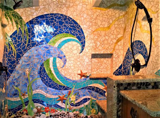 Custom mosaic for indoor shower