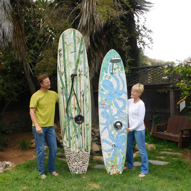 Outdoor surfboard showers for your South Carolina home and garden.