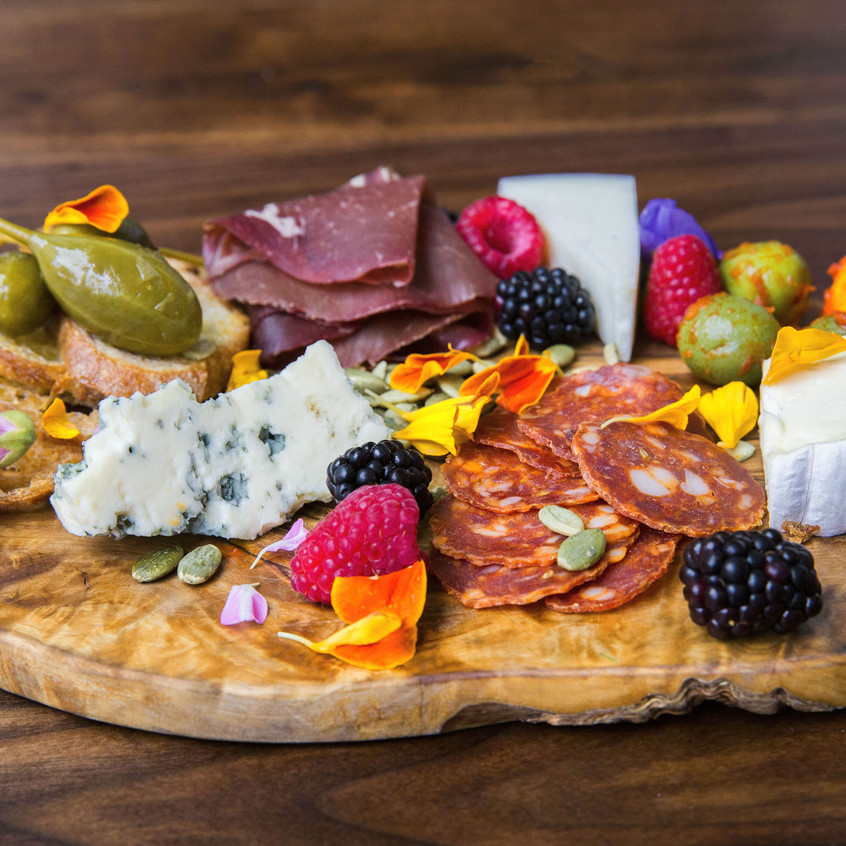 Meat and flower wooden board