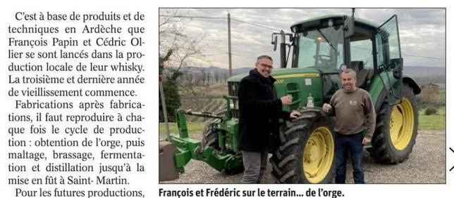 Dauphiné Libéré - L'orge d'Ardèche pour le whisky ardéchois